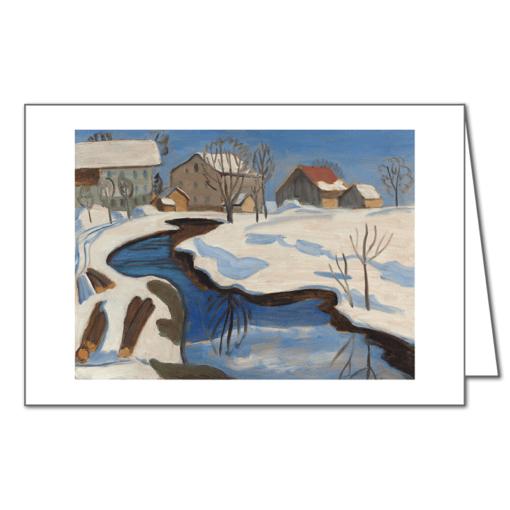 Münter - Moorbach mit Häusern im Schnee